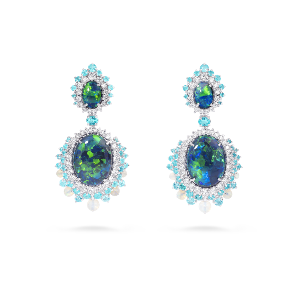 09 09 1317 Opal, Diam, Mnst Earrings