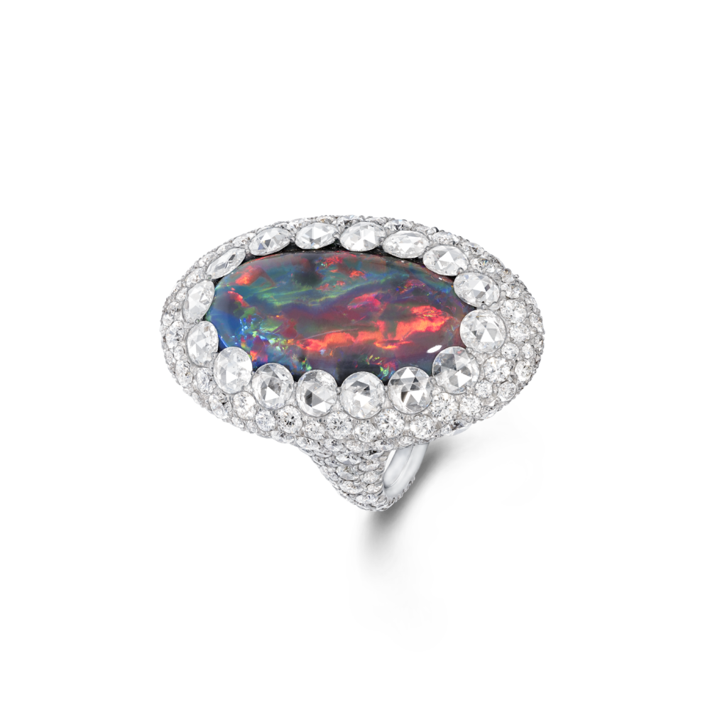 11 09 1163 Oval Opal Diam Ring
